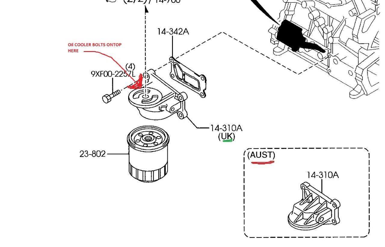 Mazda Oil Cooler On Oil Filter Body